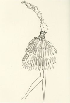 Yves Saint Laurent, sketch, Spring Summer 1967