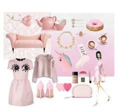 """EXTRAPINK"" by szobota-kamilla on Polyvore featuring Designers Guild, Graham & Brown, Martha Stewart, Gianvito Rossi, Kendra Scott, Rebecca Minkoff, Tasha, Adagio Teas, RED Valentino and Missguided"