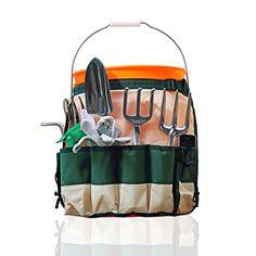 GardenHOME Garden Bucket Tool Organizer - 5 Gallon Bucket Caddy Apron with 10 Deep Pockets For Carrying Gardening Tools