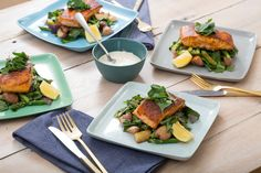Seared Salmon with Asparagus-New Potato Hash & Lemon Aioli. Visit https://www.blueapron.com/ to receive the ingredients.