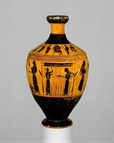 Attributed to the Amasis Painter | Terracotta lekythos (oil flask) | Greek, Attic | Archaic | The Met