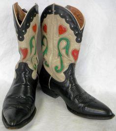 Vintage ML Leddy Cowboy Boots Pee Wee Inlay Roses by kimvintage ...