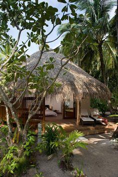 Kuramathi Island Resort in the Maldives Beach Bungalows, Beach Resorts, Bamboo House Design, Hut House, Jungle House, Island Resort, Tropical Houses, Beach Shack, Beach Cottages