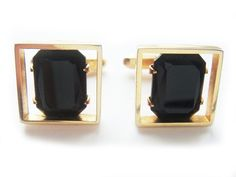 Black Rhinestone Vintage Cuff Links by BreatheCouture on Etsy, $18.00