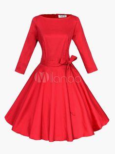 Vestido vintage con escote ovalado y 3/4 manga - Milanoo.com