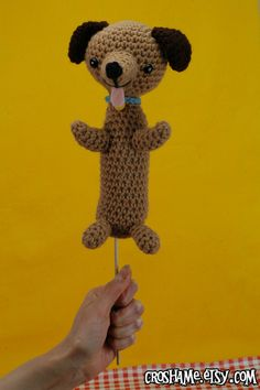 Weiner Dog on a Stick - (Ready to ship) crocheted amigurumi puppy snack. $45.00, via Etsy.