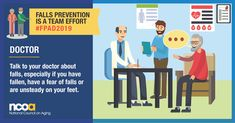 Today is Falls Prevention Awareness Day. Preventing falls is a team effort. Let your doctor know if you have fallen or are unsteady on your feet. Get more tips on preventing falls at Fear Of Falling, Social Media Images, Injury Prevention, Public Health, Talking To You, Teamwork, A Team, Usa Gov, Messages