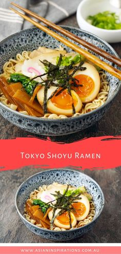 Our authentic recipe for Shoyu Ramen with a soy sauce broth from Tokyo Japan. Get this awesome Japanese Shoyu Ramen recipe. Recipe by Asian Inspirations. Easy Japanese Recipes, Asian Recipes, Gourmet Recipes, Dinner Recipes, Cooking Recipes, Healthy Recipes, Japanese Snacks, Authentic Ramen Recipe, Japanese Ramen Noodles