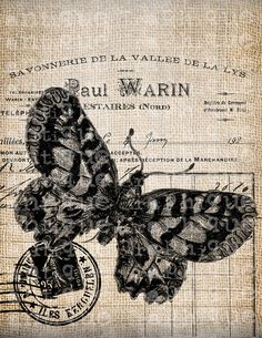 Antique French Butterfly Postmark 1800s Illustration Digital Download for Tea Towels, Papercrafts, Transfer, Pillows, etc No 7207