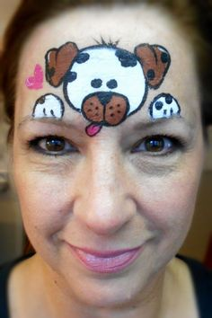 Brown/White Puppy face painting - Smiley Faces by Jo Easy Face Painting Designs, Face Painting For Boys, Body Painting, Simple Face Painting, Puppy Face Paint, Dog Face Paints, Animal Face Paintings, Animal Faces, Cheek Art