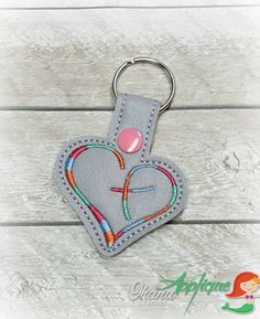 Heart Cross key chain, key fob, snap tab The Hoop Designs Machine Embroidery Designs