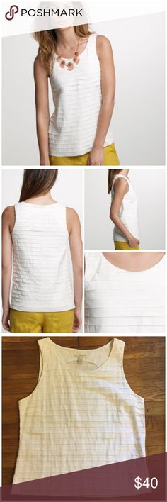 "J. Crew Pleated Cotton Strati Tank --- size 12 J. Crew Pleated Cotton Strati Tank --- size 12 --- 28 layers of pleated perfection decorate this beautiful blouse --- side zipper with hook and eye closure --- excellent preloved condition --- no signs of wear --- 19.5"" bust --- 23.5"" length --- 100% cotton ---  thank you for visiting my boutique, please feel free to ask questions J. Crew Tops Tank Tops"