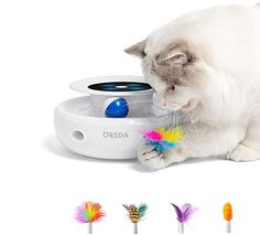 Amazon.com : ORSDA 2-in-1 Interactive Cat Toy, Ambush and Ball Tracks Electronic Cat Toys with Rotating Feather, Automatic Toys for Indoor Cats/Kitten, 4 Types Attachments, Auto Shut Off, Battery Operated, White : Pet Supplies Interactive Cat Toys, Cat 2, Cat Paws, Cat Gifts, Cool Cats, 2 In, More Fun, Spinning, Feathers