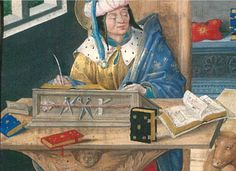 The desk of St Luke. Only a tiny detail of a marvelous miniature. Hatfield House ms324