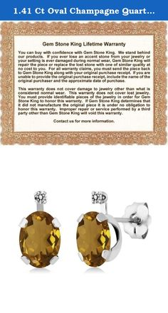 1.41 Ct Oval Champagne Quartz White Diamond 14K White Gold Earrings. Contemporary and distinctive our Quartz and Diamond gem stone earrings are sure to be great addition to any jewelry collection. Quartz is a beautiful stone making it perfect for any occasion and holiday. Show her you care with a gift that will compliment her style flawlessly. As always with all of our products this item comes in packaging making it ready for gifting as soon as it is received.This beautiful item is brand…