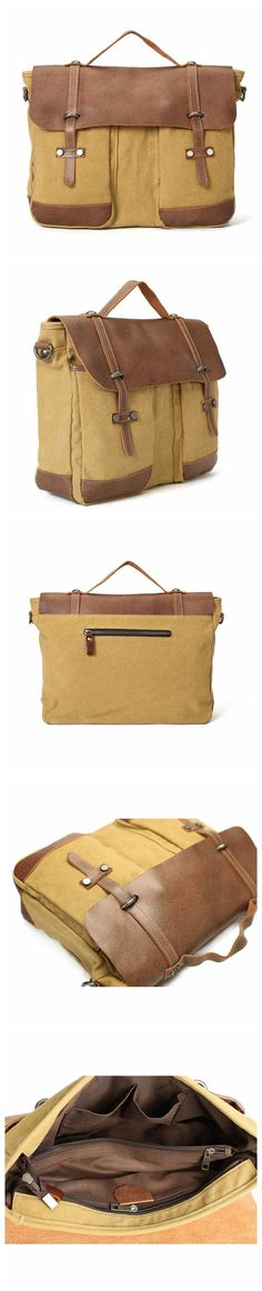Flash Sale Canvas With Leather Briefcase, Handmade Casual Shoulder Bag, Messenger Bag 8575
