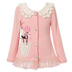 Look at this Light Pink Lace Flower Cardigan - Toddler & Girls by Richie House Little Girl Dresses, Girls Dresses, Toddler Cardigan, Knit Cardigan, Baby Kind, Lace Collar, Cute Outfits For Kids, Lace Flowers, Girls Sweaters