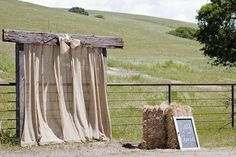 This is a neat country arch! Or something for the head of the reception area. Wedding Arch Rustic, Wedding Altars, Wedding Ceremony, Wedding Arches, Wedding Burlap, Wedding Sparklers, Burlap Backdrop, Ceremony Backdrop, Wedding Backdrops