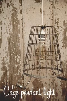 DIY cage pendant light from @Heather // Whipperberry