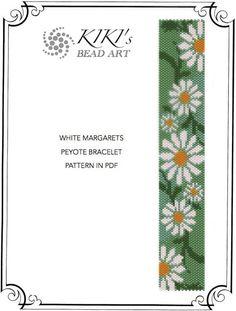 Pattern, peyote bracelet - White margarets flower garden peyote bracelet cuff pattern in PDF - instant download