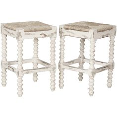 French Country Rush Seat Counter Stools ($795) found on Polyvore featuring home, furniture, stools, barstools, rush seat bar stools, white bar stools, grey barstool, woven bar stools and french country counter stools