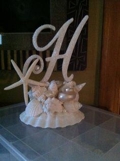 Monogram Cake Topper With Seashells Beach by ShellCoastalDesigns, $120.00