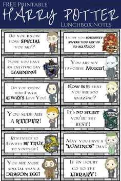 HARRY POTTER Printable Lunch Box Notes! But have to sign up for email list.