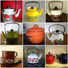 Enamel Johannes & Lotta onto Teapots Cosy Kitchen, Wooden Kitchen, Vintage Kitchen, Enamel Cookware, Kitchenware, Tableware, New Kitchen Designs, Vintage Enamelware, Vintage Cups