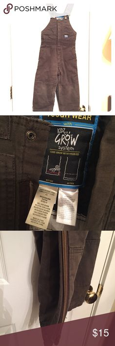 4/5 kids lined overalls - thick - grow with me Size 4/5 kids brown overalls. Thick and lined - we used them for the snow with a thermal under and coat over. They are a 'grow with me' style where you can let out the length and use them a little longer. We did not let out the length - they are still just as we bought them. Zippers on side of legs to help with putting on boots. Smoke and pet free. GUC almost EUC. Other