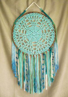 Large teal aqua blue dreamcatcher Dream catcher by WebOfMagic Dream Catcher Bedroom, Doily Dream Catchers, Dream Catcher Craft, Hippie Crochet, Crochet Owls, Crochet Dreamcatcher, Crochet Sunflower, Crafts To Make And Sell, Sell Diy