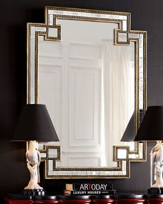"""Handcrafted mirror framed mirror pieces enhanced by silver and gold leaf beaded edges. 35""""W x 2""""D x 49""""T. Can be hung vertically or horizontally. Imported. Boxed weight, approximately 44 lbs."""