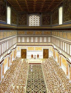 Curia Julia during a Senate meeting - artist's reconstruction. The senate building was constructed by Julius Caesar in 44 BCE, to replace the Curia Cornelia Classical Architecture, Historical Architecture, Ancient Architecture, Ancient Rome, Ancient Greece, Ancient History, Fall Of Constantinople, Roman Republic, Roman Era