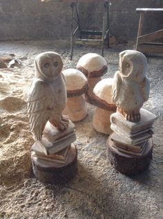 Chainsaw carved owls on books