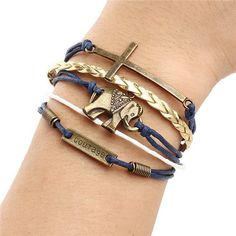 Charm Vintage Multilayer Charm Leather Bracelet Women's Owl Cross Believe Bracelet Best Friends Gift