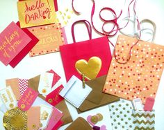 Pink and Gold Gift Wrapping Kit/Gift Packaging Set by StaceysLove