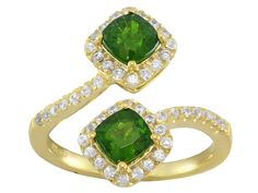 Funky green! We will be wearing this with some chrome diopside studs!  | 1.35ctw Cushion Chrome Diopside With .40ctw Round White Zircon 18k Gold Over Sterling Silver Ring