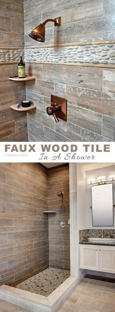 Wood tile in a shower! So rustic and pretty... Lots of beautiful and creative tile ideas for kitchen back splashes, master bathrooms, small bathrooms, patios, tub surrounds, or any room of the house! #tilebathtub