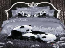 sıcak satış pamuk çarşaf 3d yorgan/nevresim panda hayvan baskılı yatak bedclothes kraliçe dolu yatak örtüsü çarşaf set(China (Mainland))