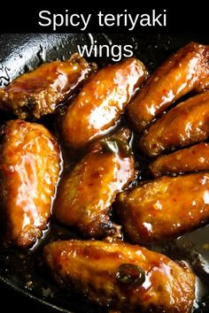 "spicy pan-fried chicken wings in teriyaki sauce.- smothered in a sticky, spicy sauce. These chicken wings give new meaning to""finger licking good"". They are better than restaurant wings you can make, pile up and serve as an appetizer, tailgating snack. Hot Wing Sauces, Chicken Wing Sauces, Chicken Wing Recipes, Chicken Wing Marinade, Chicken Legs, Pan Fried Chicken Wings, Teriyaki Chicken Wings, Hot Wings Recipe Fried, Gourmet"