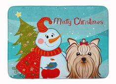 Caroline's Treasures Snowman With Chocolate Brown Shih Tzu Machine Washable Memory Foam Mat Brown Shih Tzu, Yorky, Glass Cutting Board, Cutting Boards, Yorkshire Terrier Puppies, Christmas Snowman, Dachshund, Memory Foam, Kitchen Mat