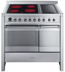 Smeg double oven stainless steel range cooker is the latest addition to the popular Opera line. The range has multifunction ovens, ceramic hob, electric griddle and energy rating AA. analogue LED…