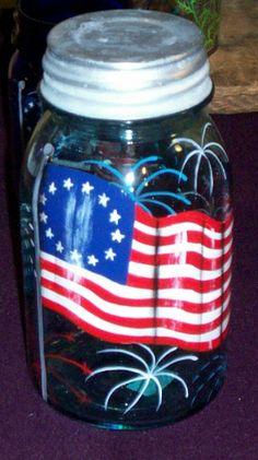 American Flag Old Glory Vintage Quart Mason Jar