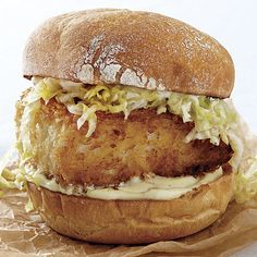 Wasabi, ginger, and soy sauce give this otherwise typical fried fish sandwich a bright and spicy flavor. Look for tubes of wasabi paste near other Asian ingredients in the supermarket.