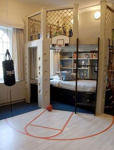 This room could work into the high school age for a boy, right? 40 Cool Boys Room Ideas - Style Estate - << just boys? I'd take that room in a heart beat! Dream Rooms, Dream Bedroom, Cool Boys Room, Nice Boys, Boys Room Ideas, Tomboy Room Ideas, Cool Beds For Boys, Boys Bedroom Ideas 8 Year Old, Cool Bedrooms For Boys