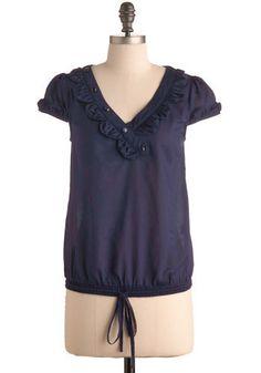 Finger Lakes Blouse: asymetrical v-neck, drawstring waist, cap sleeves