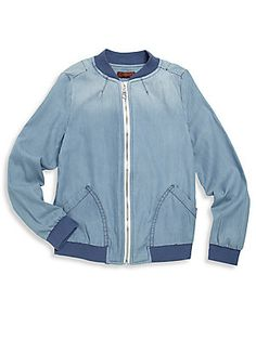 7 For All Mankind Girl's Chambray Bomber Jacket - Blue - Size
