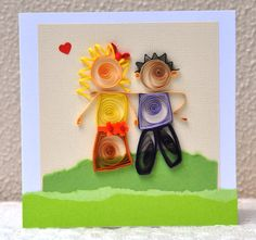 Quilled Boy Girl Couple Paper Quilling Handmade by PaperSimplicity