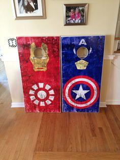 Captain America and Iron Man  custom cornhole boards.  www.danscustomgames.com