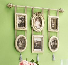 wall decorating ideas, recycling for creative picture arrangements...to display Grandma's pic