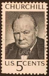 A postage stamp portrait of Winston Churchill.